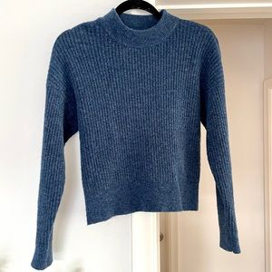 Club Monaco Blue Wool Cropped Ribbed Sweater